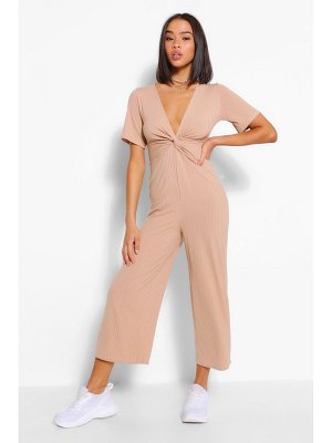 Boohoo Ribbed Twist Front Culotte Jumpsuit