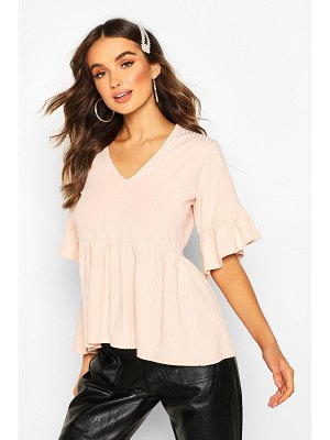 Boohoo Ribbed V Neck Frill Sleeve Smock Top