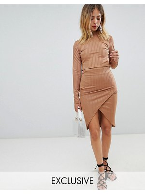 Boohoo exclusive ribbed wrap midi skirt in camel