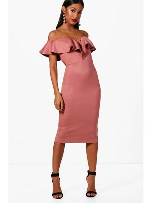 Boohoo Ring Detail Suedette Midi Dress