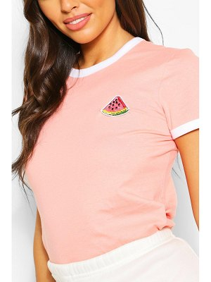 Boohoo Ringer T-Shirt With Watermelon Patch