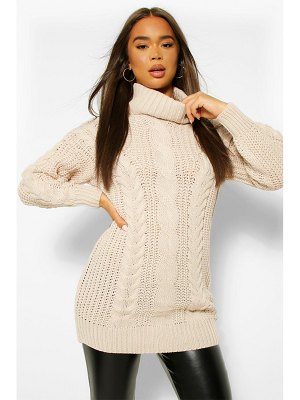 Boohoo Roll Neck Cable Knit Sweater Dress
