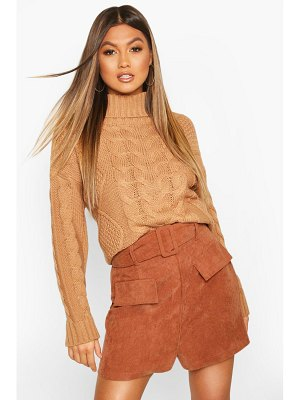 Boohoo Turtleneck Cable Knit Sweater
