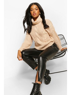 Boohoo Roll Neck Chunky Cable Knit Sweater