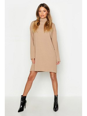 Boohoo Roll Neck Ribbed Long Sleeve Mini Dress