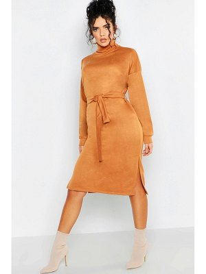 Boohoo Roll Neck Self Belt Midi Sweat Dress