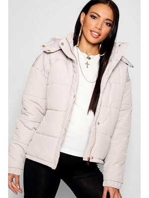 Boohoo Rose Gold Trim Puffer Jacket