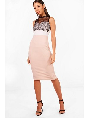 Boohoo Rose Lace Trim Midi Dress