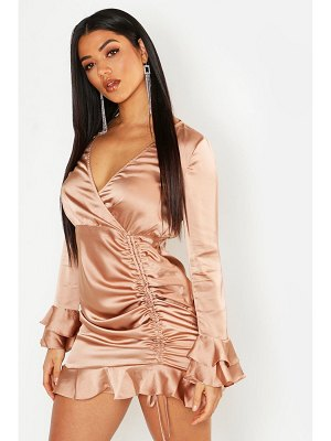 Boohoo Rouched Front Flared Sleeve Wrap Dress
