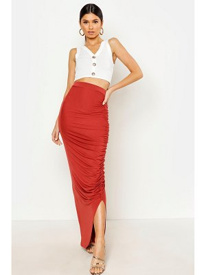 Boohoo Rouched Front Maxi Skirt