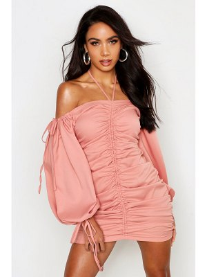 Boohoo Rouched Front Volume Sleeve Mini Dress