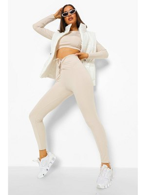 Boohoo Ruche Front Zip Ankle Active Leggings
