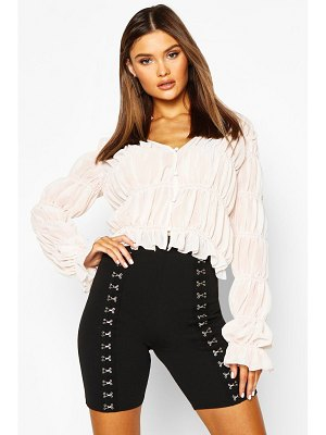 Boohoo Ruched Button Front Blouse