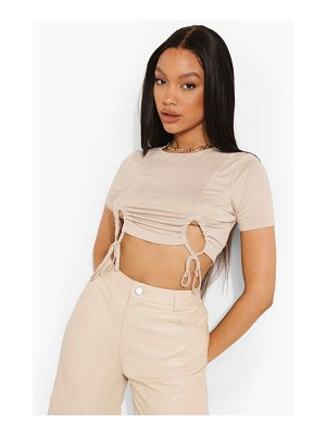 Boohoo Ruched Front Cropped T Shirt