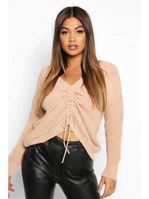 Boohoo Ruched Front Knitted sweater