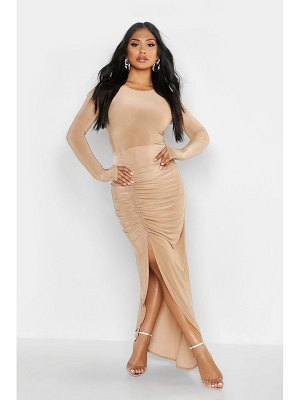Boohoo Ruched Long Sleeve Maxi Dress