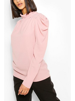 Boohoo Ruched Neck Puff Sleeve Blouse