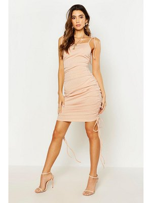 Boohoo Ruched Rib Bodycon Dress