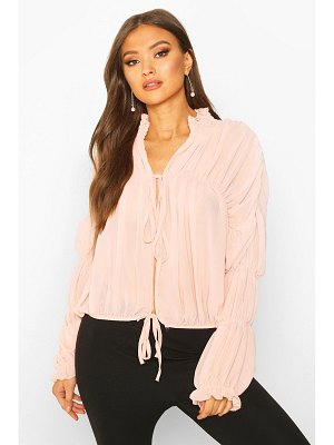 Boohoo Ruched Ruffle Neck Blouse