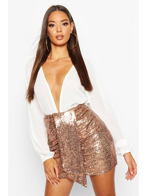 Boohoo Ruched Sequin Mini Skirt