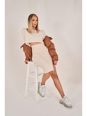 Boohoo Ruched Sleeve Column Skirt Knitted Co-Ord