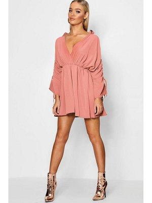 Boohoo Ruched Sleeve Wrap Front Shift Dress