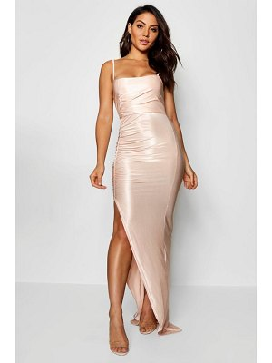 Boohoo Ruched Sqaure Neck Maxi Dress