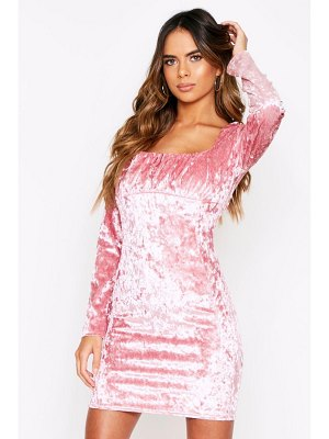 Boohoo Ruched Square Neck Crushed Velvet Dress
