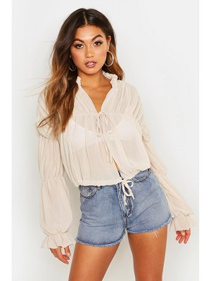 Boohoo Ruched Tie Front Sheer Top