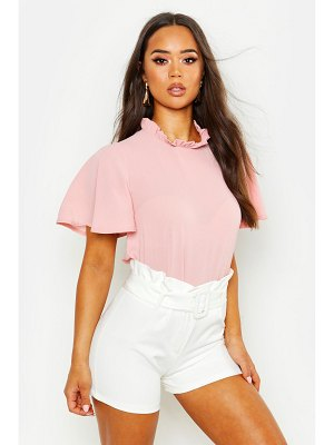 Boohoo Ruffle Neck Angel Sleeve Blouse