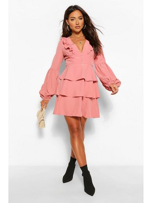 Boohoo Ruffle Plunge Tiered Skater Dress