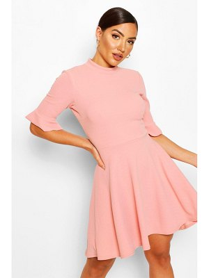 Boohoo Ruffle Sleeve Skater Dress