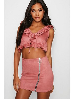 Boohoo Ruffle Suede Zip Skirt Co-ord