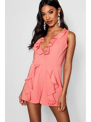 Boohoo Ruffle Tailored Playsuit