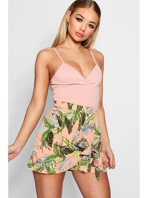 Boohoo Safari Palm Print Wrap Skort