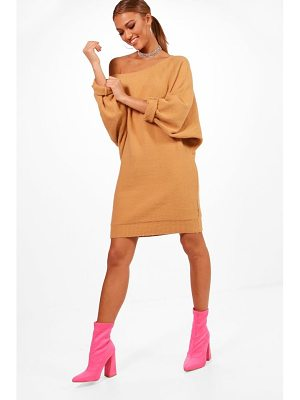 BOOHOO Samantha Slash Neck Oversized Slouchy Soft Knit Dress