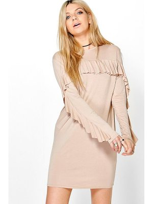 Boohoo Samara Ruffle Sleeve Tie Back Shift Dress