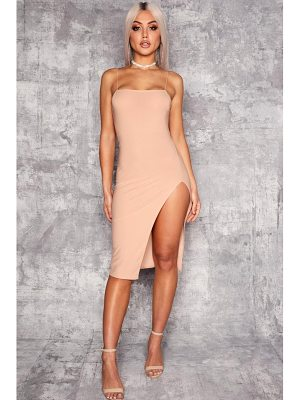 Boohoo Sanai Strappy Square Neck Thigh Split Midi Dress