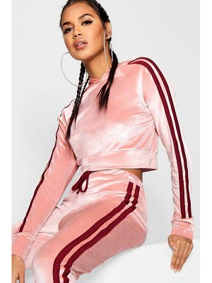 Boohoo Side Stripe Velour Cropped Hoodie