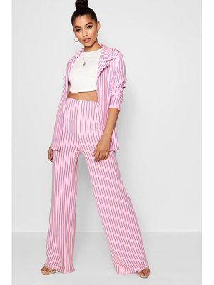 Boohoo Stripe Pleat Wide Leg Trouser