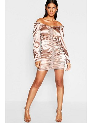 Boohoo Satin Bardot Ruched Mini Dress