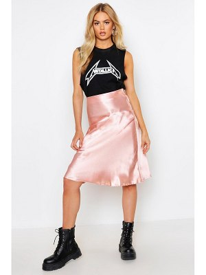 Boohoo Satin Bias Cut Slip Midi Skirt