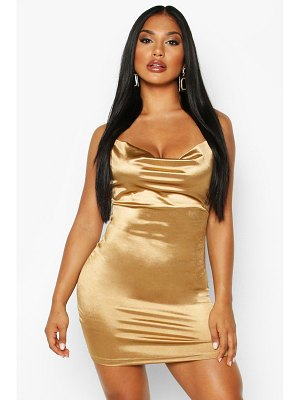 Boohoo Satin Cowl Front Bodycon Dress