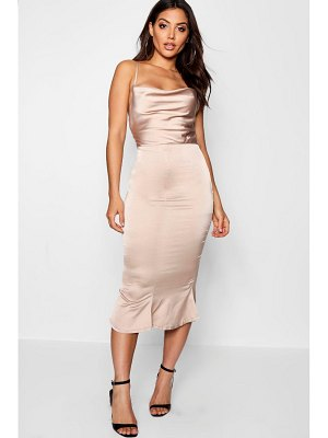 Boohoo Satin Cowl Neck Lace Up Fish Tail Midi Dress