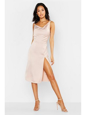 Boohoo Satin Cowl Neck Midi Dress