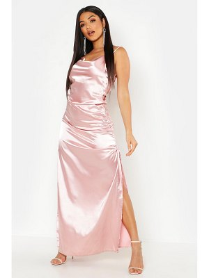 Boohoo Satin Cowl Neck Ruched Maxi Dress