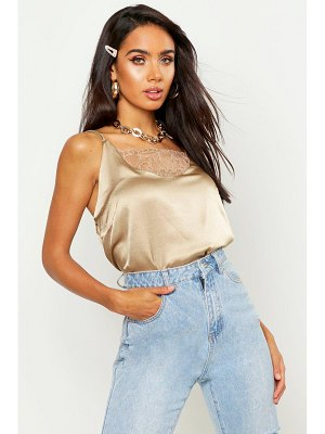 Boohoo Satin Lace Detail Cami