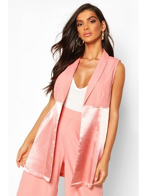 Boohoo Satin Mix Sleeveless Longline Blazer