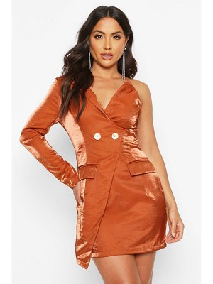 Boohoo Satin One Shoulder Blazer Dress