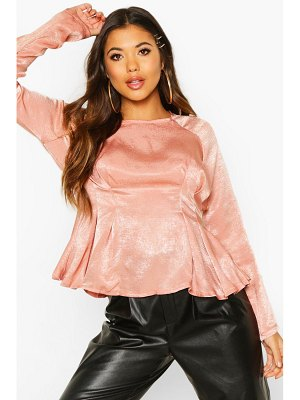Boohoo Satin Pleat Front Fitted Blouse